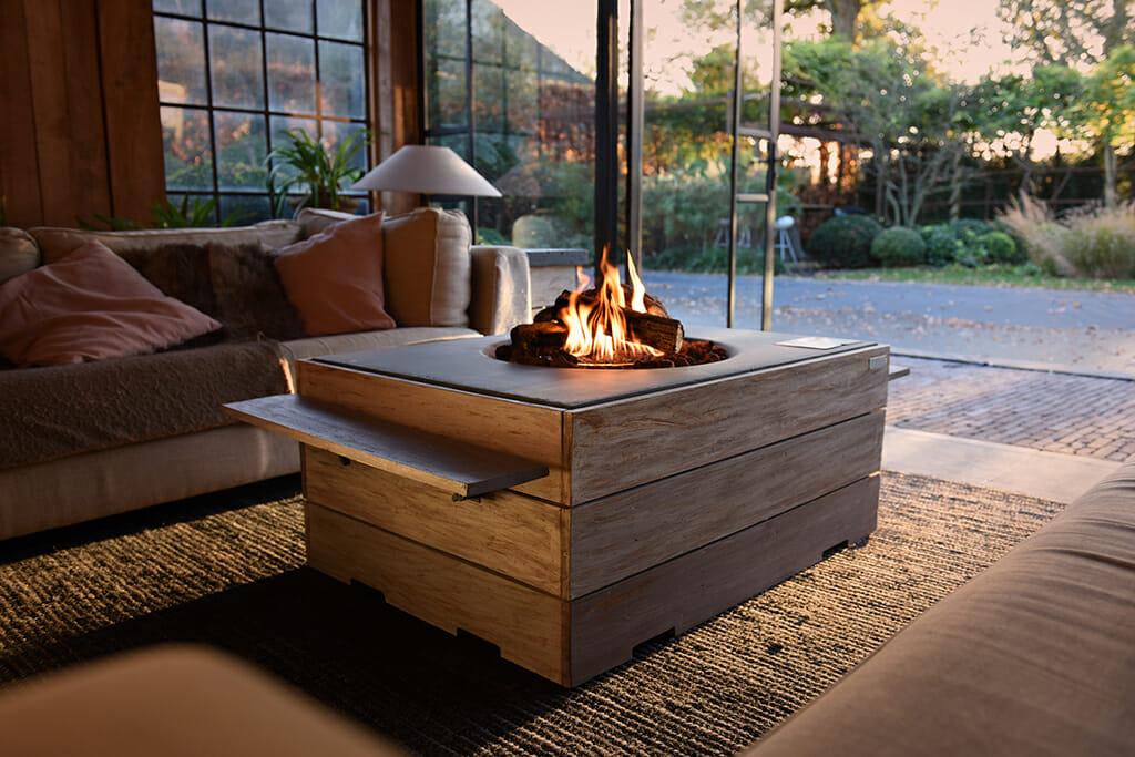 terrashaard met hout